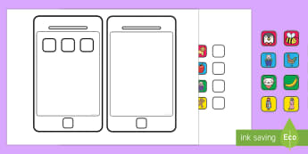 Create an iphone Cut out Activity - iPhone, phone, mobile, emojis, design, technology, communication, phones, , moji