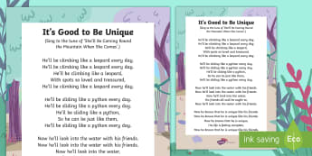 It's Good to Be Unique Song Lyrics - Ronald the Rhino, children's book, rhyme, story, text, rhyming couplets, syllables, Leopard, Python