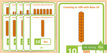 Counting with Base 10 Display Posters - Counting with Base 10 Display Poster - tens, ten times table, multiples of 10, multiples of ten, die