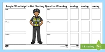 People Who Help Us Hot Seating Activity Sheets - CfE Drama, hot seating, planning, questioning, police officer, firefighter, lifeguard, nurse, parame