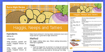 Burns Night Food Recipe - Elderly, Reminiscence, Care Homes, Burns' Night