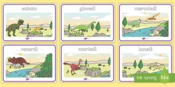 Giorni della settimana con i dinosauri Poster - giorni, settimana, nomi, poster, italiano, italian, colorato, materiale, scolastico, dinosauro, dino