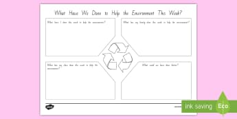 What Have We Done to Help the Environment This Week? Activity - English - tidy kiwi, New Zealand, rubbish, recycling, Years 1-6, helping, family, class, changes