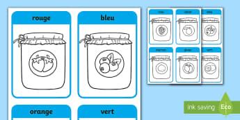 Feuille de coloriage guidée : Les pots de confiture - Cycle 1, EYFS, couleurs, colours, pot de confiture, jam jar, coloriage