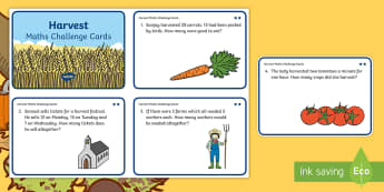 KS1 Harvest Maths Differentiated Challenge Cards - Addition, Subtraction, Solve, Calculate, Work Out