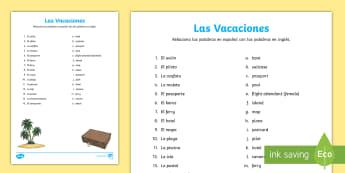 Holiday Travel Matching Activity Sheet - Spanish - Spanish, Vocabulary, KS2, holidays, travel, summer, trips, flying, travelling, activity, sheet, work