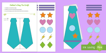 Simple Father's Day Tie Paper Craft - EYFS, foundation stage, simple, art, paper craft, crafts, Handmade, Father's Day, Dad, father, dadd