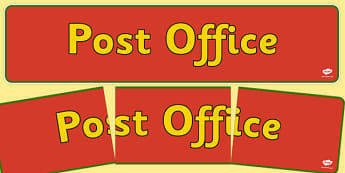 Post Office Display Banner - Post Office display, banner, poster, post office, role play, letters, stamps, stamp, mail, post, postman, delivery, passport, car tax, mail bag, envelope