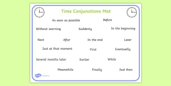 Time Conjunctions Word Mat