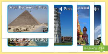 Buildings Of The World Display Photos - buildings of the world display photos, buildings of the world, display, photos, images, sign, Buri Khalifa, Eiffel Tower, Empire State Building, Golden Gate Bridge, Great Wall of China, London Eye, Sphinx, famo