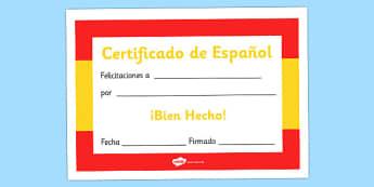 Spanish Award Certificate - Spanish Award Certificate, Spanish, language, Spain, certificates, award, well done, reward, medal, rewards, school, general, certificate, achievement, foreign, skills, language skills