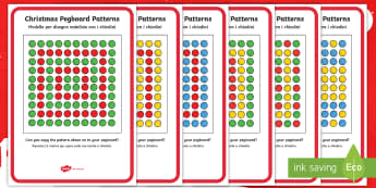 Christmas Peg Board Pattern Cards English/Italian - Puzzle, Activity, Activities, patterns, Christmas, EAL