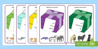 ماذا يوجد في الصندوق؟  - بطاقات، ماذا في الصندوق، لعبة، حيوانات، أنشطة، قراءة،