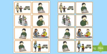 In der Schule: Finde die richtige Reihenfolge Kartenspiel - Fremdsprache, Englisch, Französisch, Üben, Sprechen, Schreiben, ordnen,,German