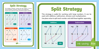 Split Strategy Display Poster - Maths, Australia, Australian Curriculum, Split Strategy, Addition, Subtraction, Multiplication, Divi