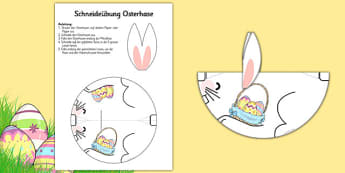 Schneideübung Osterhase Cutting Skills Easter Bunny German - german, easter, bunny, cutting, cut, cutout