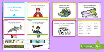 Author's Purpose Task Cards - ELA, Common Core, Task Cards, Scoot, Small Group, Whole Class Activity