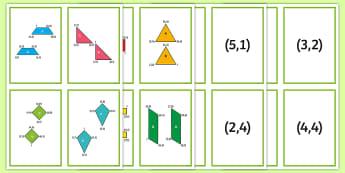 2D Shape Coordinate Translation Matching Cards - Position and Direction, coordinates, translation, congruent, congruence