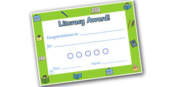 Literacy Themed Sticker Reward Certificate 15mm - literacy reward certificate, literacy certificate, literacy sticker certificate, sticker certificate
