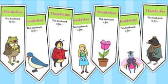Thumbelina Editable Bookmarks - stories, reading, read, books