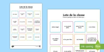 Loto: Accueil de la classe - Loto, rentrée, nouvelle classe, transition, début d'année,French