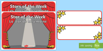 Star of the Week Poster English/French - Star of the Week Stage A3 Poster - star of the week, A3 poster, poster, star of the week poster, cla