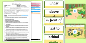 Prepositions Activity EYFS Adult Input Plan and Resource Pack - stick man, prepositions