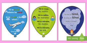 Maori Language Week Inspirational Quote Balloons Display Posters Te Reo Maori - Maori Language Week, Inspirational Quotes, Whakatauki, Quote Balloons, Display Pack