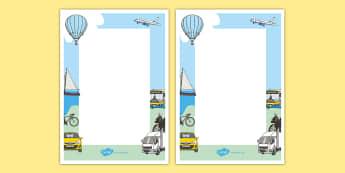 Transport Editable Note - transport, notes, teacher notes, reward