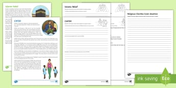 Religious Charity Home Learning Activity Sheets - Charity, Wealth, Poverty, CAFOD, Islamic Relief, worksheets, homework