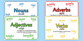 Nouns, Adjectives, Verbs and Adverbs with Definition Poster Pack Arabic Translation - arabic, nouns, adjectives, verbs, adverbs, posters, display