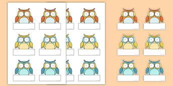 Cute Owl Themed Self-Registration Labels - cute owl, self-registration, labels, display
