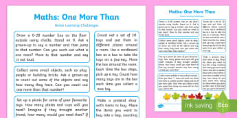 EYFS Maths: One More Than Home Learning Challenges - EYFS Number ELG, mathematics, early years, EYFS Planning, activities,counting, ordering, numbers to