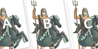 A-Z Alphabet on Poseidon - A-Z, A4, display, Alphabet frieze, Display letters, Letter posters, A-Z letters, Alphabet flashcards