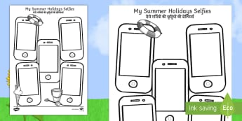 Summer Holiday Selfies Writing Template English/Hindi - holiday, summer, term, break, holidays, selfie, selfy, photo, portrait, picture