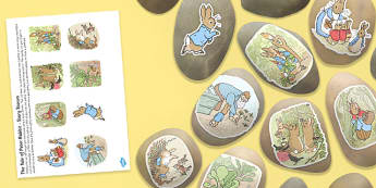 The Tale of Peter Rabbit Story Stone Image Cut Outs - tale of peter rabbit, story stone, image, cut outs