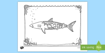 Mako Shark Mindfulness Colouring Page - New Zealand Mindfulness, mako shark, mako, shark, colouring, predator
