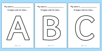 'My name begins with the letter...' Big Letter Colouring Sheets - my name begins with, my name begins with sheet, name initials, initials, a-z initials worksheets, a-z initials posters