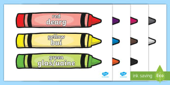 Colour Words On Crayons English/Gaelige Display Poster - Colour Words On Crayons English/Gaelige Display Poster - bilingual, display, gaelige, language, colo