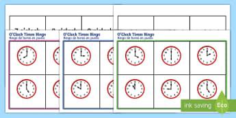 O'Clock Time Bingo English/Spanish - O Clock time bingo, Time bingo, time game, Time resource, Time vocaulary, clock face, Oclock, half p