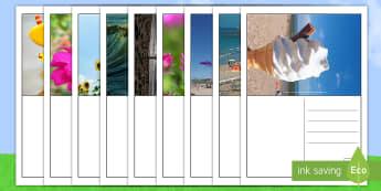 Sommer Postkarten Schreibvorlage - Sommer, Postkarten, Schreibvorlage, Postkarte, Sommerferien, Sommerzeit, große Ferien, Sommer, Urla