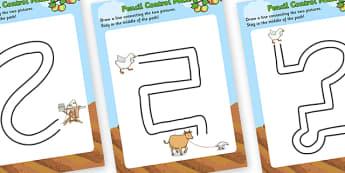 Farmer Duck Pencil Control Maze Worksheets - farmer duck, pencil control, pencil control maze worksheets, maze worksheets, farmer duck themed sheets