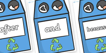Connectives on Eco Bins - Connectives, VCOP, connective resources, connectives display words, connective displays