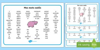 Sous-main : Les mots outils - lecture, écriture, mots outils, cycle 1, cycle 2, français, vocabulaire, key words,French