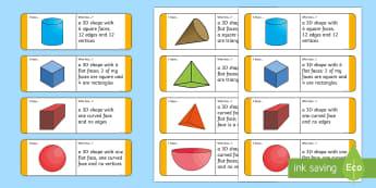 KS1 3D Shape Riddle Loop Cards - Shape Riddles, Riddles, Riddle, Loop Cards,Maths, Numeracy, Shapes, 3D shapes, 3 Dimensional Shapes,
