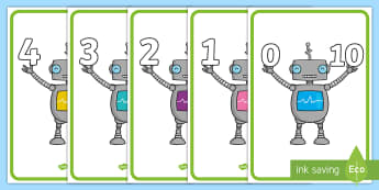 Number Bonds to 10 Display Posters (Robots) - Number Bonds, robot, robots, Matching Cards, display poster, sign, Number Bonds to ten, counting, number recognition