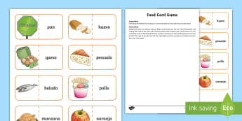 Different Food Card Game - English / Spanish - Inglés / Español-Scottish-translation - Spanish games, Spanish activities, Spanish food, Spanish eating, Spanish card game, self-correcting
