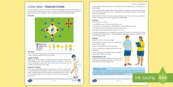 Diamond Cricket Rules - cricket, batting, fielding, wicket, throwing