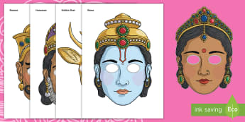 Rama and Sita Masks - role play mask, role play, rama, sita, Diwali, religion, hindu, hanoman, rangoli,ravana, pooja thali, rama, lakshmi, golden deer, diva lamp, sweets, new year, mendhi, fireworks, party, food