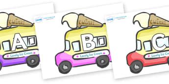 A-Z Alphabet on Ice Cream Vans - A-Z, A4, display, Alphabet frieze, Display letters, Letter posters, A-Z letters, Alphabet flashcards